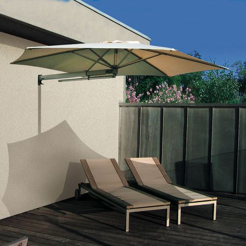 wall-mounted patio umbrella / aluminum / polyolefin / orientable