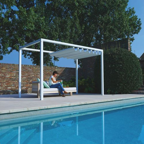 self-supporting pergola / aluminum / fabric sliding canopy / manual