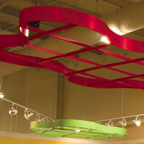mineral fiber suspended ceiling / floating / decorative / curved