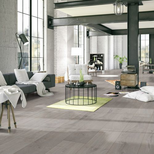 wooden laminate flooring / click-fit / stone look / home