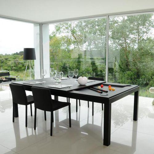 original design dining table / wooden / steel / powder-coated steel