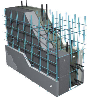 concrete wall / galvanized steel / prefab / with intergrated insulation