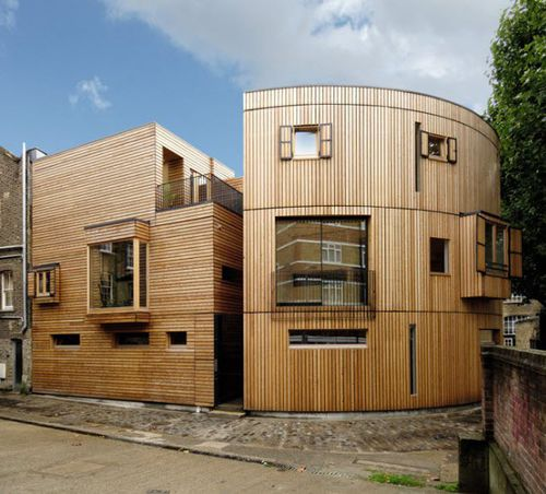 prefab building / duplex / solid wood / glue-laminated wood