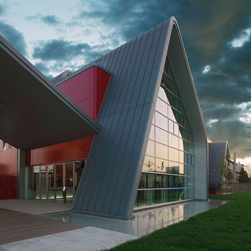ventilated facade cladding / copper / zinc-titanium / ribbed