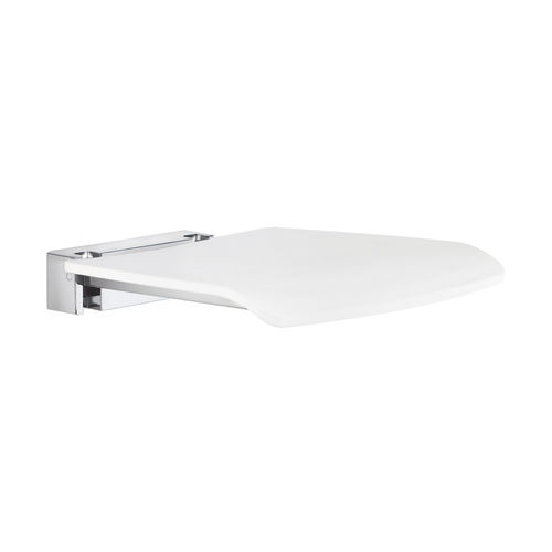 folding shower seat / wall-mounted / stainless steel
