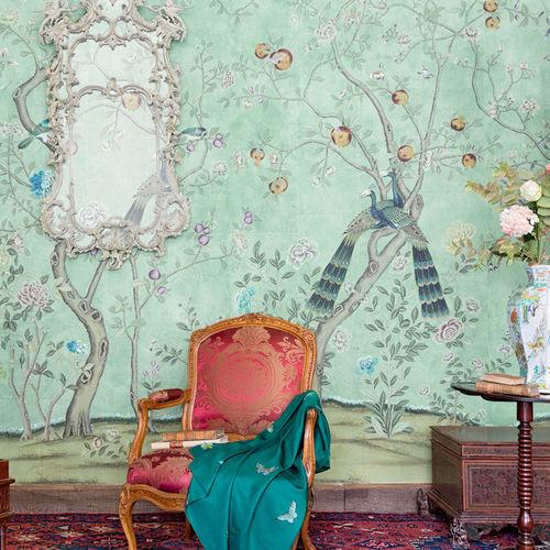 traditional wallpaper / chinoiserie / fabric look / handmade