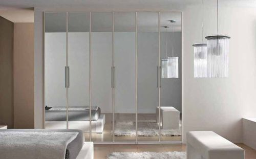 contemporary wardrobe / wooden / with swing doors / mirrored