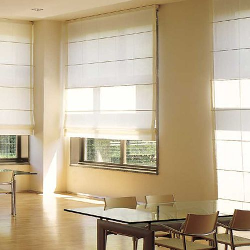Roman opening system for blinds / motorized