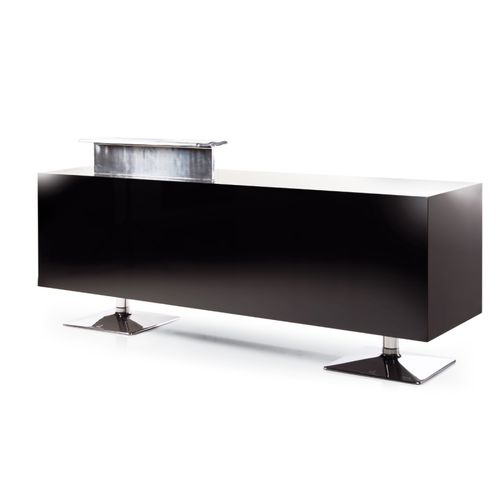 glass reception desk / aluminum / for hairdressers