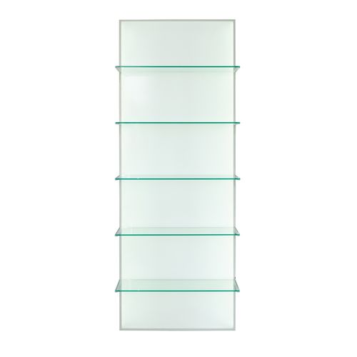 wall-mounted display rack / beauty product / glass / panel