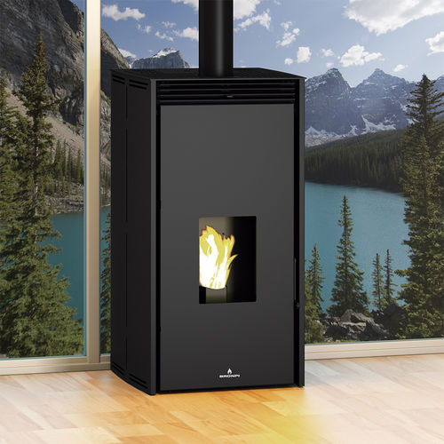 pellet heating stove / contemporary / metal