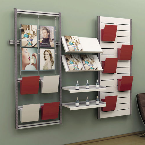 wall-mounted display rack / periodicals / food / beauty product