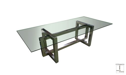 contemporary dining table / steel / crystal / polished stainless steel
