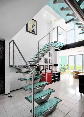 straight staircase / quarter-turn / metal frame / glass steps