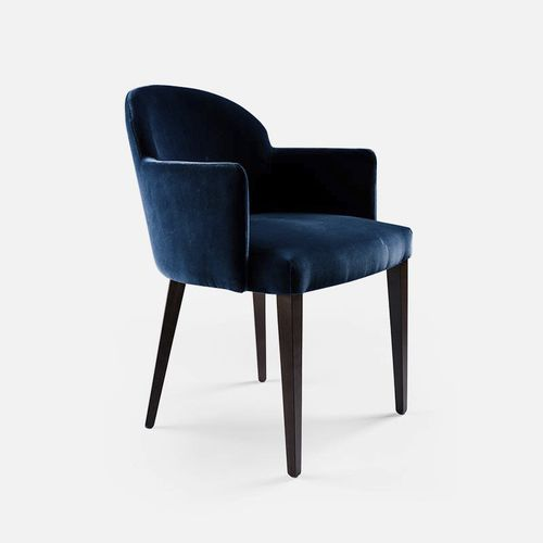 contemporary restaurant chair / upholstered / with armrests / fabric