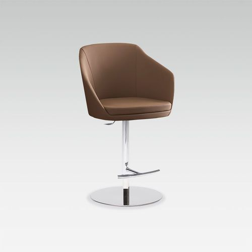 contemporary bar chair / upholstered / with footrest / adjustable