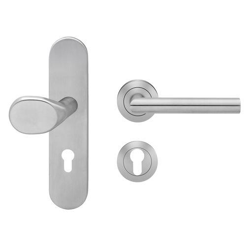 door handle / stainless steel / contemporary / satin finish