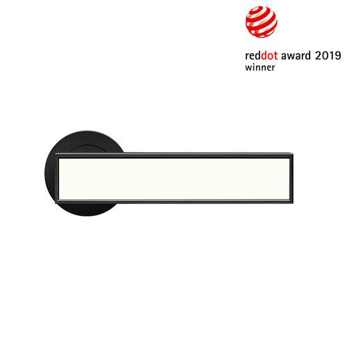 door handle / stainless steel / contemporary / inlaid