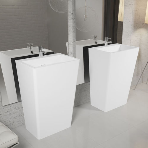 floor-mounted washbasin / rectangular / Solid Surface / contemporary
