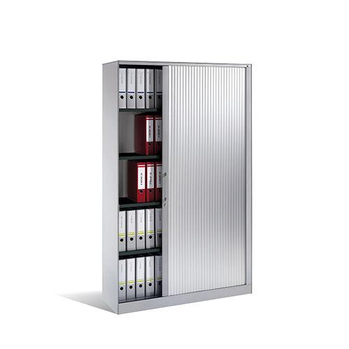 tall filing cabinet / wood veneer / steel / glass