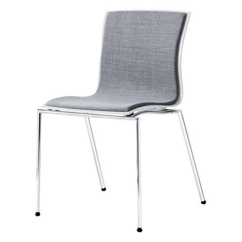 contemporary visitor chair / with armrests / upholstered / stackable