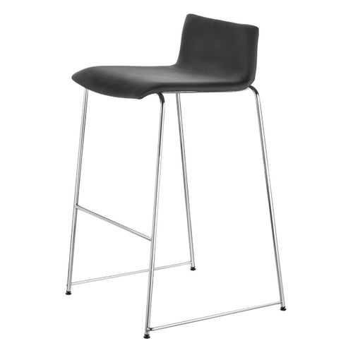 contemporary bar stool / leather / steel / commercial