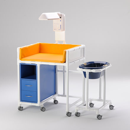 HPL changing table / free-standing / for healthcare facilities / on casters