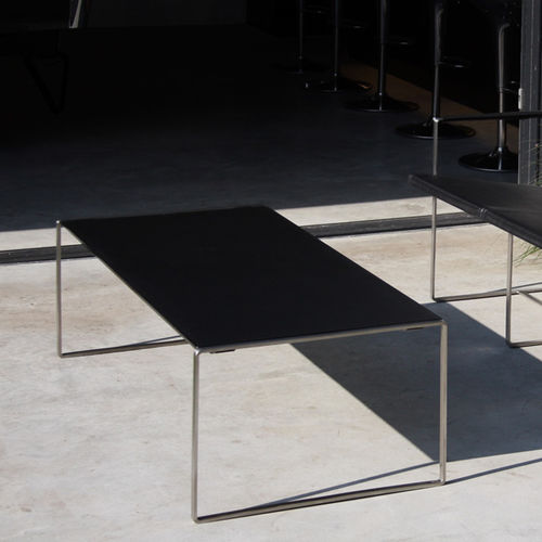 contemporary coffee table / teak / glass / stainless steel base