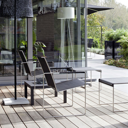 contemporary armchair / Batyline® / stainless steel / sled base