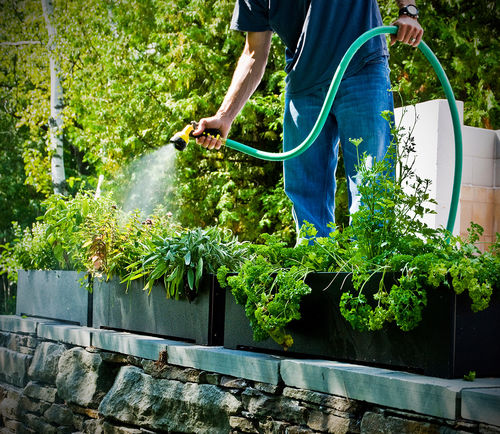 recycled plastic planter / rectangular / contemporary / for hotel