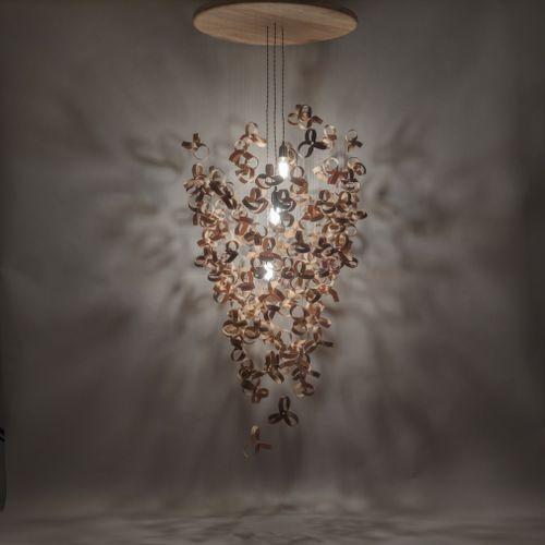 original design chandelier / wooden / LED