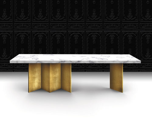 contemporary table / marble / painted wood base / rectangular