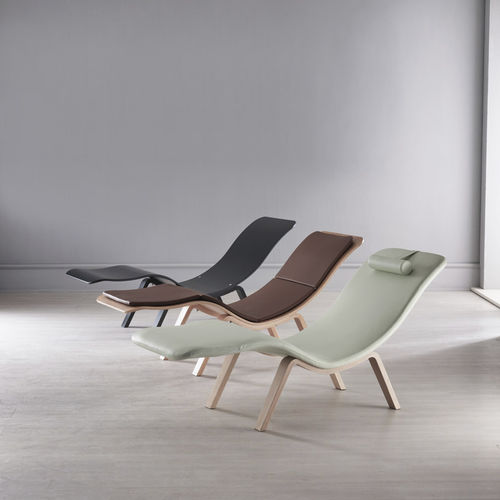 contemporary chaise longue / fabric / wooden / synthetic leather