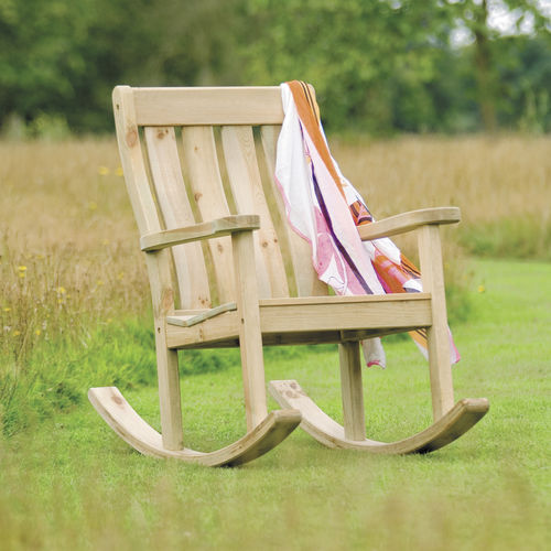 traditional armchair / pine / with armrests / rocker