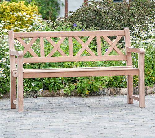 garden bench / traditional / mahogany / with backrest