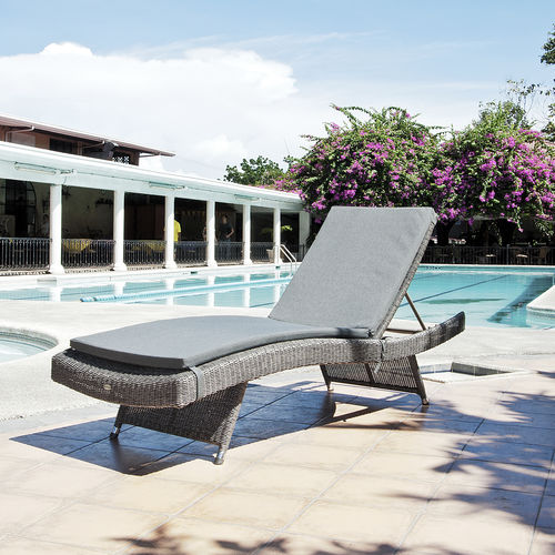 traditional sun lounger / fabric / synthetic rattan / garden