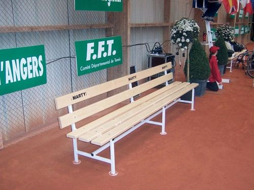 tennis bench / contemporary / wooden / with backrest