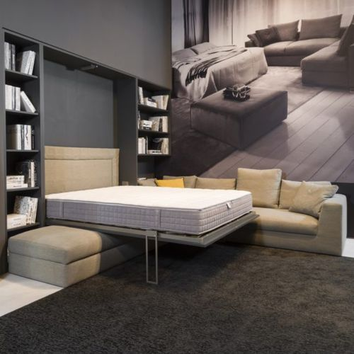wall bed / double / contemporary / upholstered