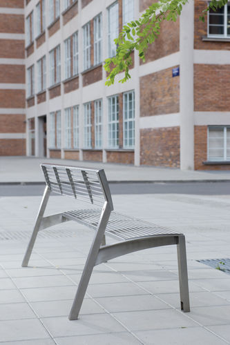 public bench / traditional / wooden / stainless steel