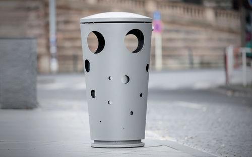 public trash can / galvanized steel / contemporary