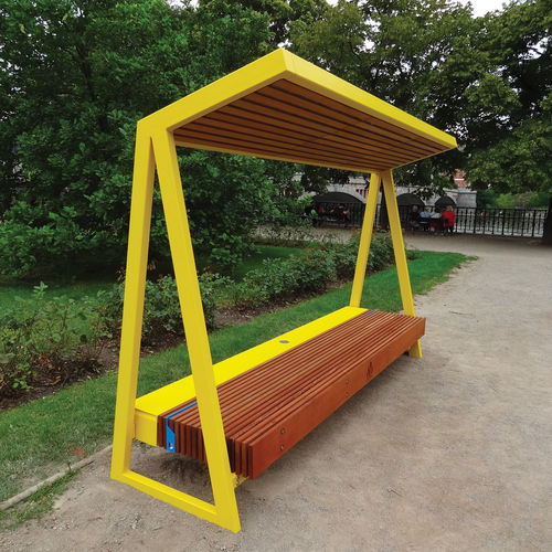 public bench / contemporary / solid wood / steel