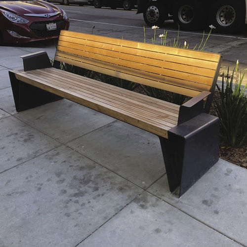 public bench / contemporary / stainless steel / HPL