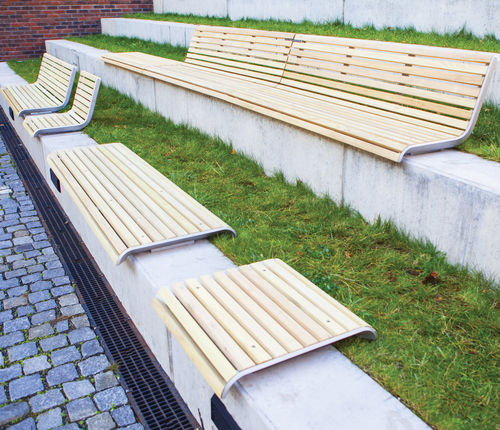 public bench / contemporary / wooden