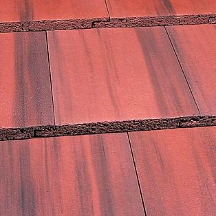 flat roof tile / concrete / red / gray