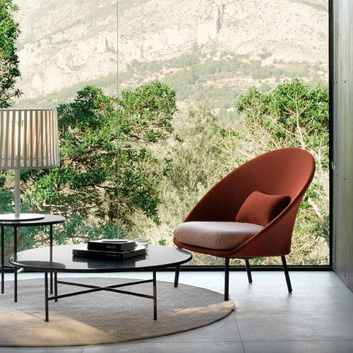 contemporary armchair / fabric / aluminium / with removable cushion