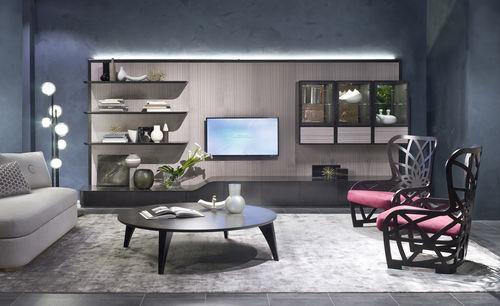 contemporary TV wall unit / wooden / metal / modular