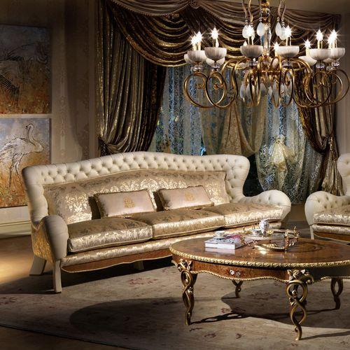Chesterfield sofa / velvet / leather / maple