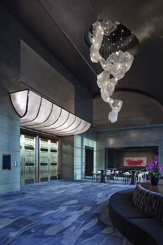 contemporary chandelier / crystal / LED