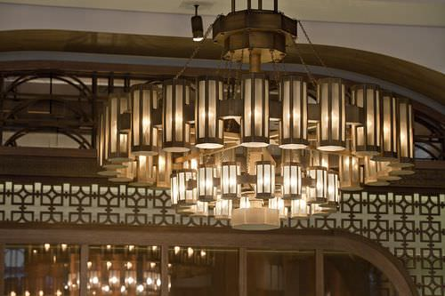 contemporary chandelier / glass / brass / LED