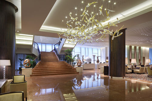 contemporary chandelier / blown glass / LED